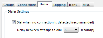 Reconnect dialer settings