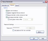 Kana Reminder Options Window