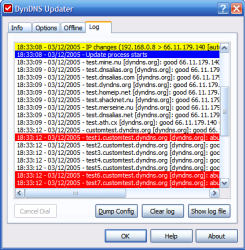 Kana Dynamic IP Updater log window