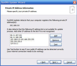 Page to configure the public IP address detection on DynDNS Update wizard